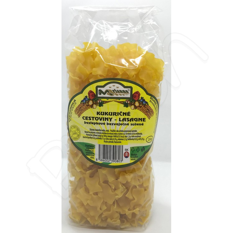 Kukuričné cestoviny BZL -  lasagne 250g Marianna