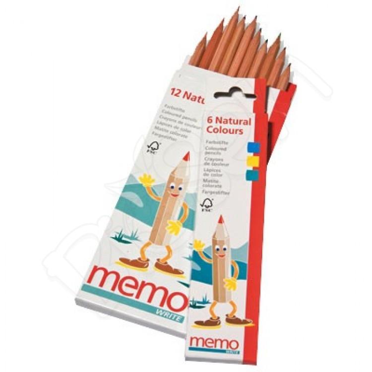 Prírodné farebné ceruzky 12ks Memo