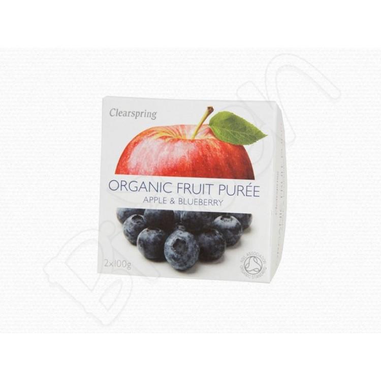 Ovocné pyré Jablko - Čučoriedka BIO 2x100g Clearspring