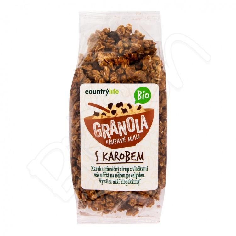 Granola - chrumkavé ovsené vločky s karobom BIO 350g Country Life