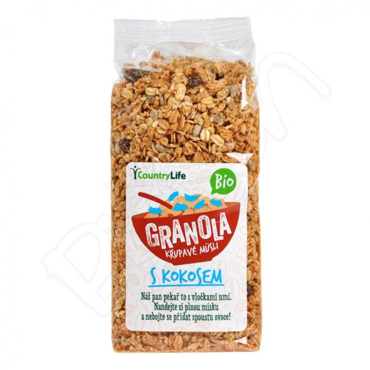 Granola - chrumkavé ovsené vločky s kokosom BIO 350g Country Life