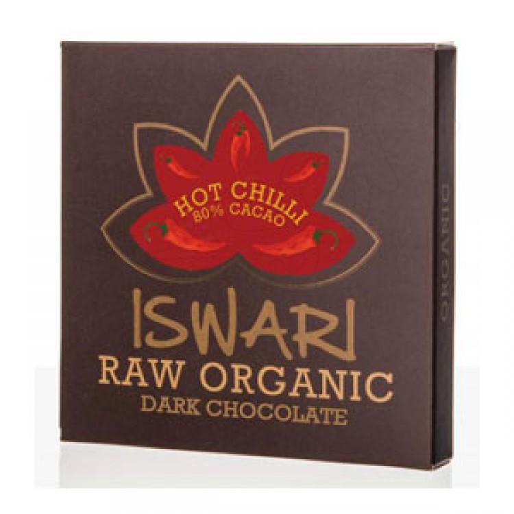 Čokoláda tvarovaná 80% HOT CHILLI BIO RAW 75g Iswari