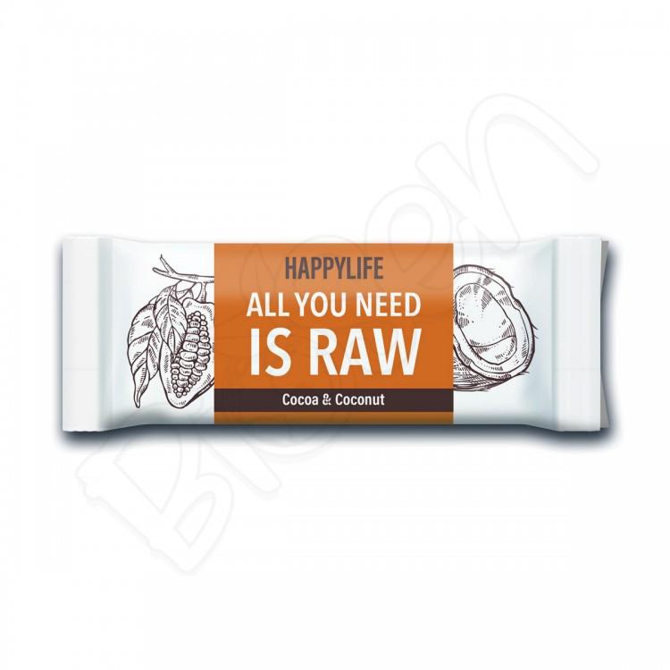 HappyBar RAW tyčinka - kakao, kokos BIO 50g Happy Life