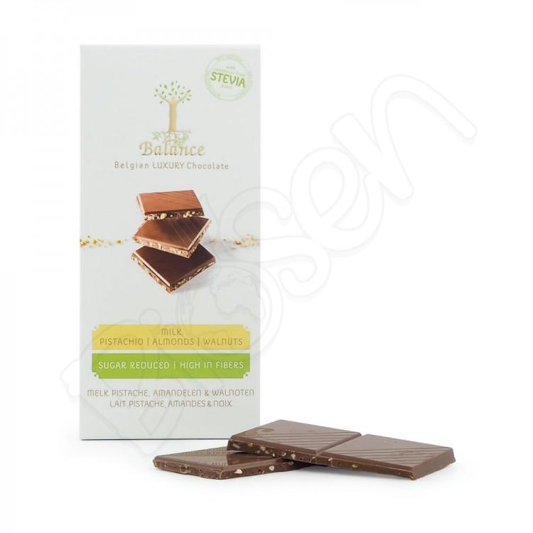 Čokoláda mliečna so sladidlom - pistácie, mandle, vlašský orech 85g Balance