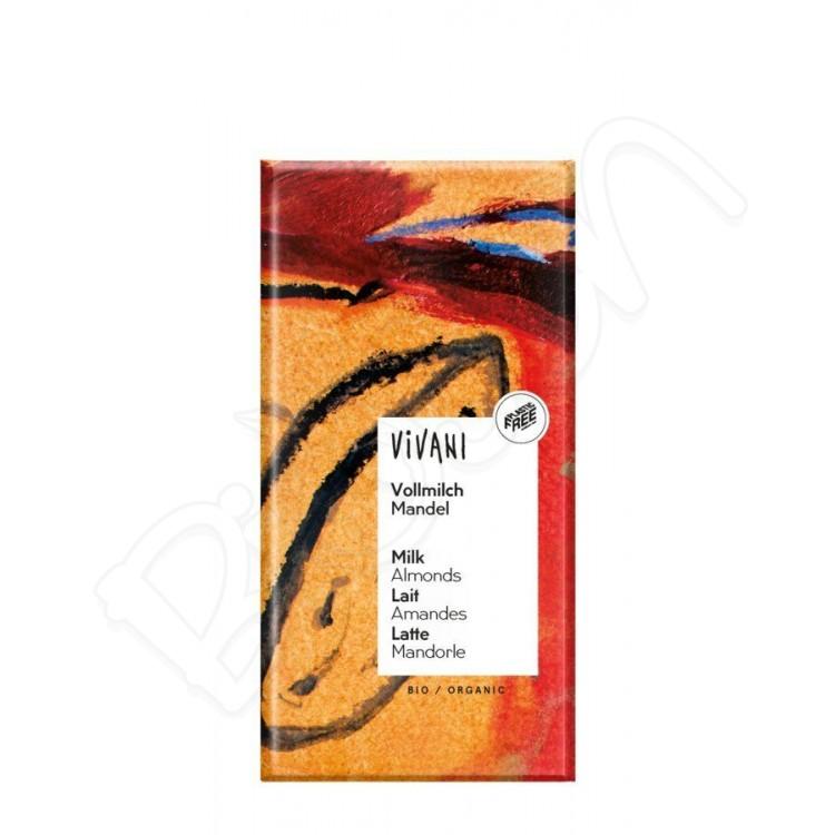 Čokoláda MLIEČNA s mandľami BIO 100g Vivani