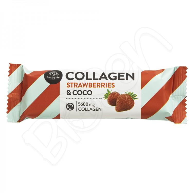 Kolagénová kokosová tyčinka jahodová 40g Happy Life