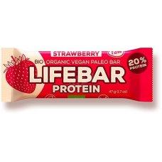 Tyčinka jahodová - proteinová BIO 47g Lifebar