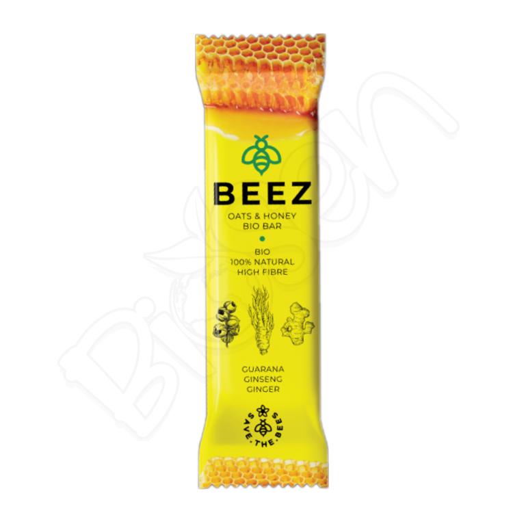Medová tyčinka BIO - GUARANA, ŽENŠEŇ, ZÁZVOR 40g Beez
