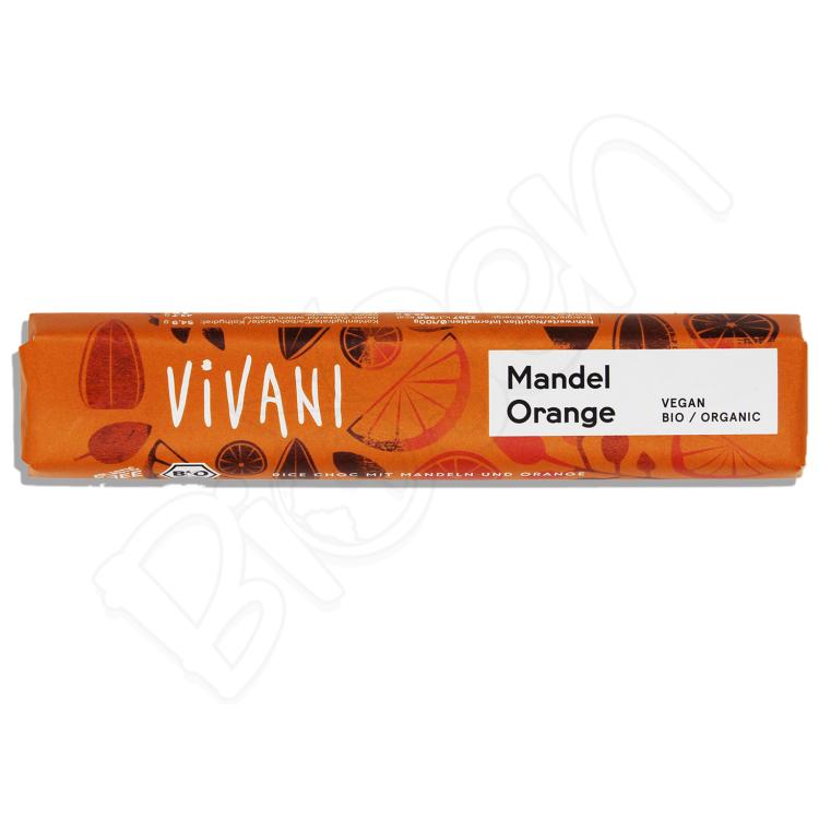 Čokoláda ryžová MANDLE a POMARANČ BIO 35g Vivani