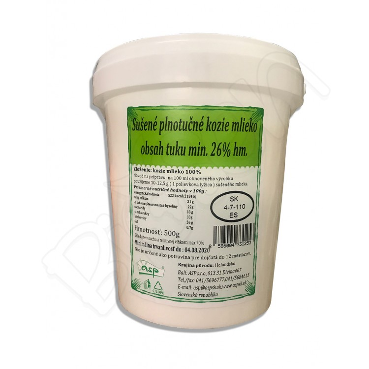 Kozie sušené plnotučné mlieko 500g Asp